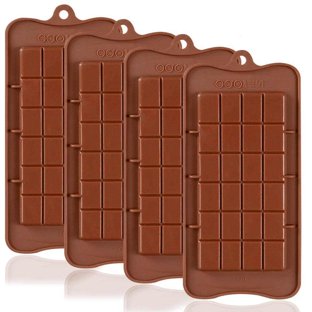 Break Apart Chocolate, DaKuan 4PCS FDA Approved Food Grade non-Stick Energy Bar and Protein Molds
