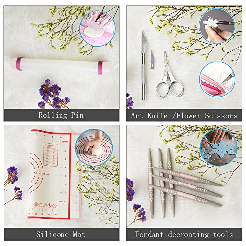 Gum Paste Flower and Leaf Tools Kit-7 Modelling Tool 4 Ball Tools 6 Frilling Stick 7 Cake Brush 6 Decorating Tools 1 Veining Board 1 Foam Pad 1 Silicone Mat 1 Flower Scissors 1 Art Knife 1 Rolling Pin by kenman (Image #2)
