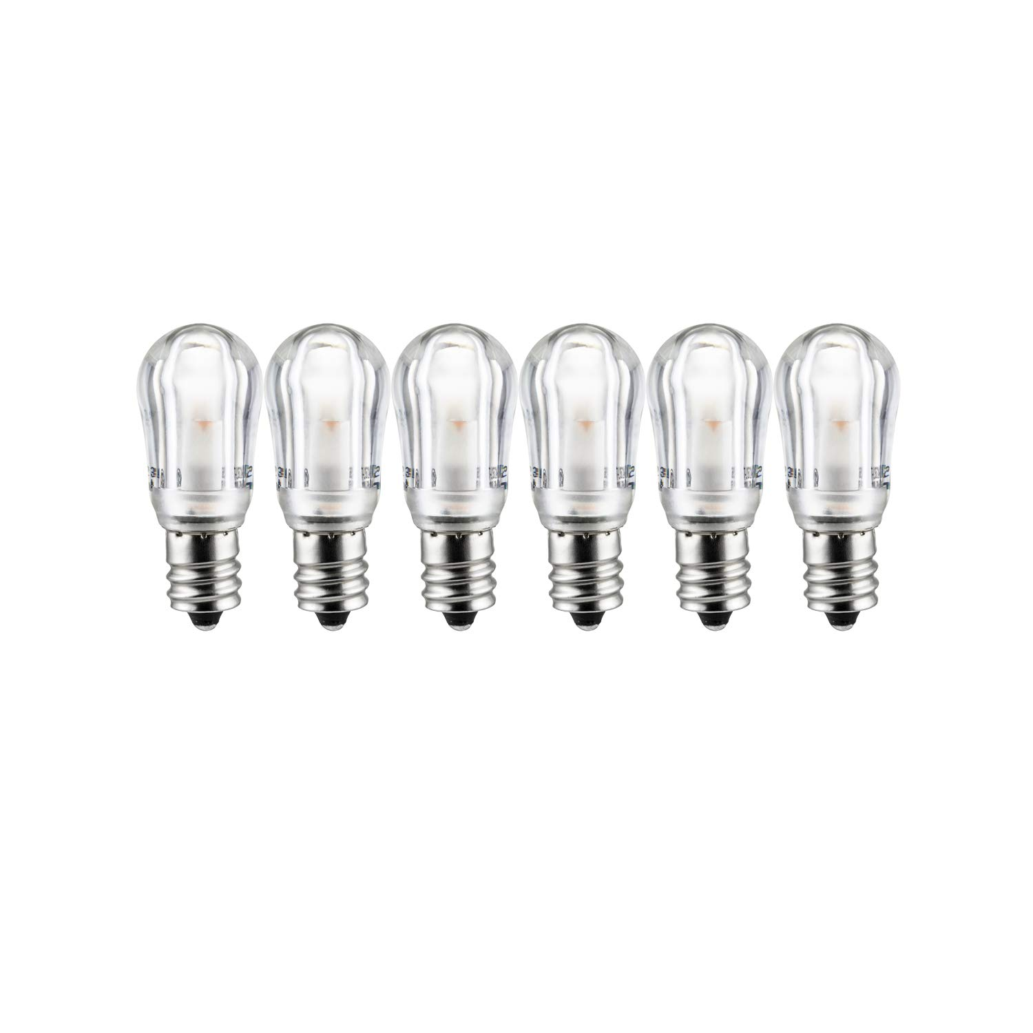 Sunlite 41069-SU LED Night Light Bulb S6 Indicator Lightbulb Non Dimmable, Chandelier E12 Base, 6 Pack, Warm White