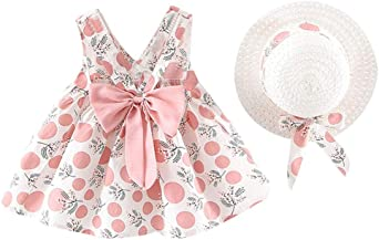 Sunnywill Robe d'été décontractée pour Fille en Coton avec Motif Floral Noeud Papillon Robe de Fille pour bébé Vêtements pour Fille pour bébé 0 24
