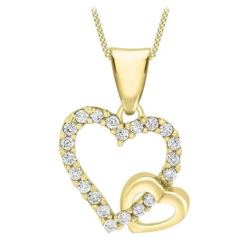 4223d6c39e Carissima Gold Collana con Pendente da Donna in Oro Giallo 9K (375) con  Zirconio Cubico, 46 cm