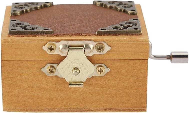 Simlug Caja Musical de Madera, Caja de música clásica Vintage, Regalo de cumpleaños, melodía del Castillo en el Cielo(Hand-Operated -Color de Registro): Amazon.es: Hogar