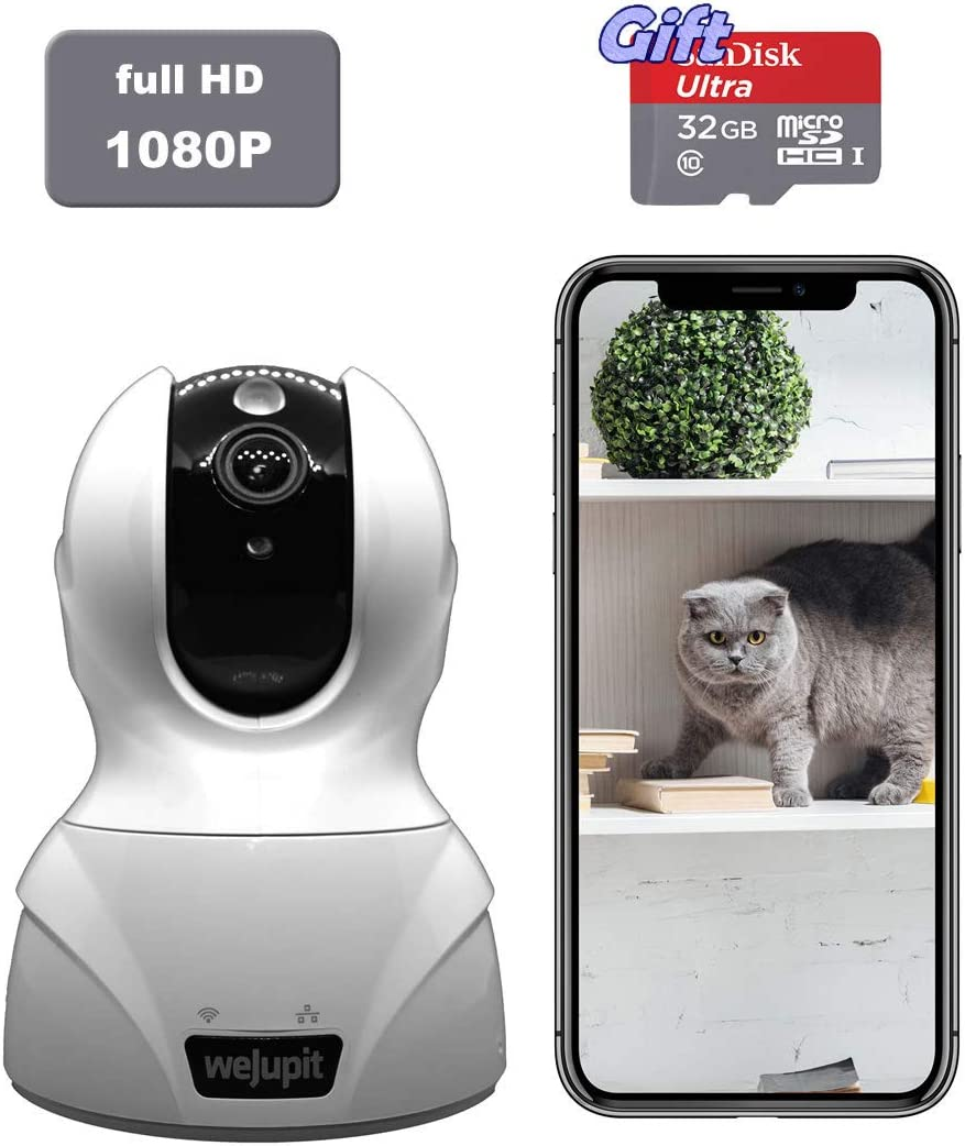 Security Camera Full HD 1080P WiFi Baby Pet Home Monitor – weJupit Wireless Indoor Pan Tilt Zoom IP Camera, Motion Detection, Two-Way Audio, Night Vision – Cloud Storage Free 32G SD Card
