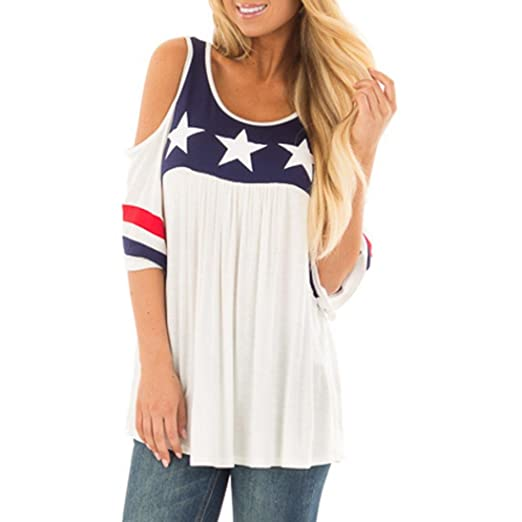 7c316c20011a6 OSTELY Women s Plus Size Patriotic Printed Cold Shoulder Striped Tops Blouse(White