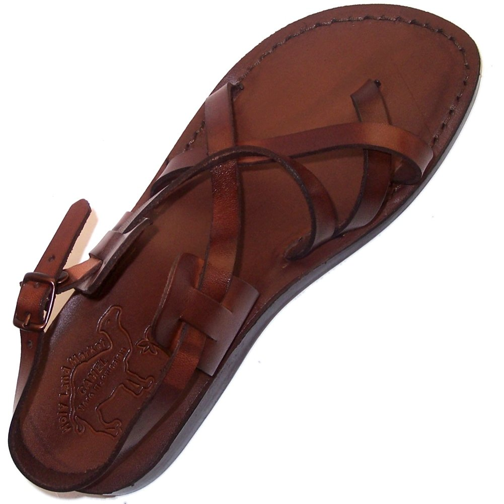 Holy Land Market Unisex Adults/Children Genuine Leather Biblical Sandals/Flip flops (Jesus - Yashua) Style IV Camel Trademark - European 39