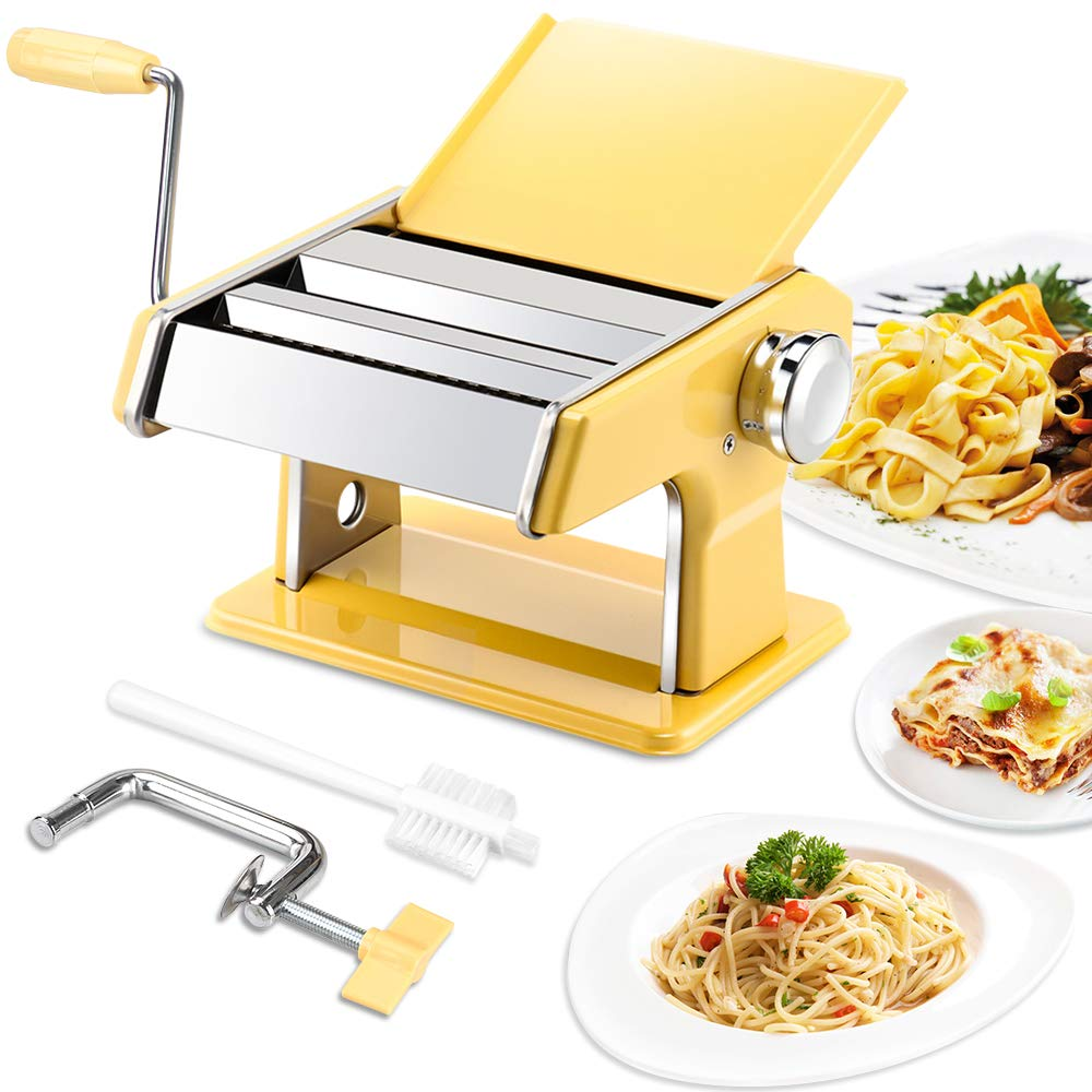 elabo Pasta Machine - Stainless Steel Roller Pasta Maker - 7 Adjustable Thickness Settings Noodles Maker with Hand Crank, Perfect for Spaghetti, Fettuccini, Lasagna or Dumpling Skins by elabo