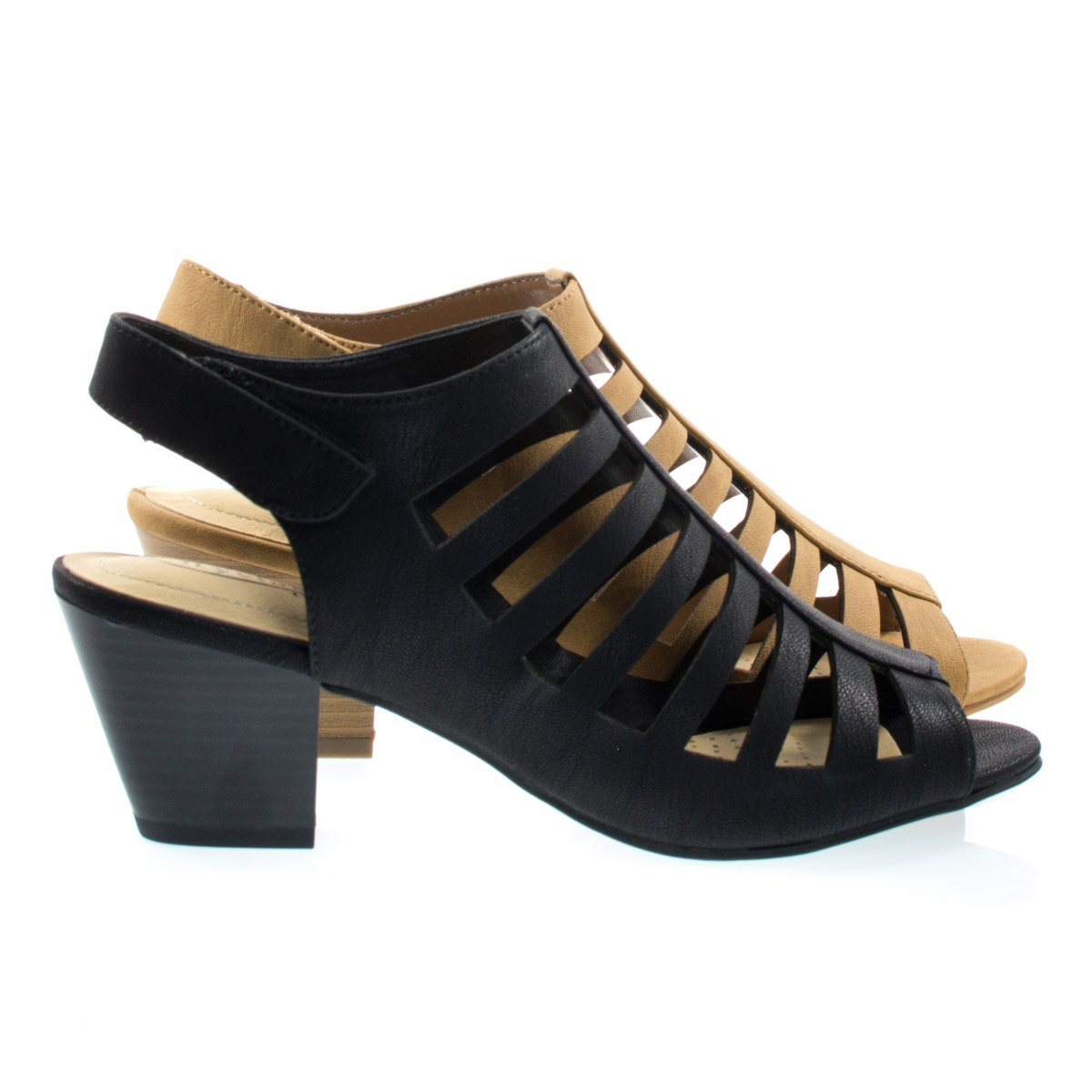 Citi Classified Comfort Foam Pad T-Strap Cage Dress Sandal, Gladiator Chunky Block Heel (10, Black Nubuck)