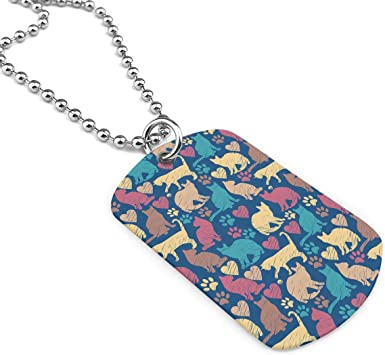 Military Necklace Colorful Cats Custom Zinc Alloy Pendant Necklace Dog Tags