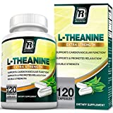 BRI L-Theanine 200mg Supplement Enhanced with 100mg Inositol for Relaxation, Anxiety and Stress Relief, Restful Sleep and Mood Boost - 120 Veggie Caps
