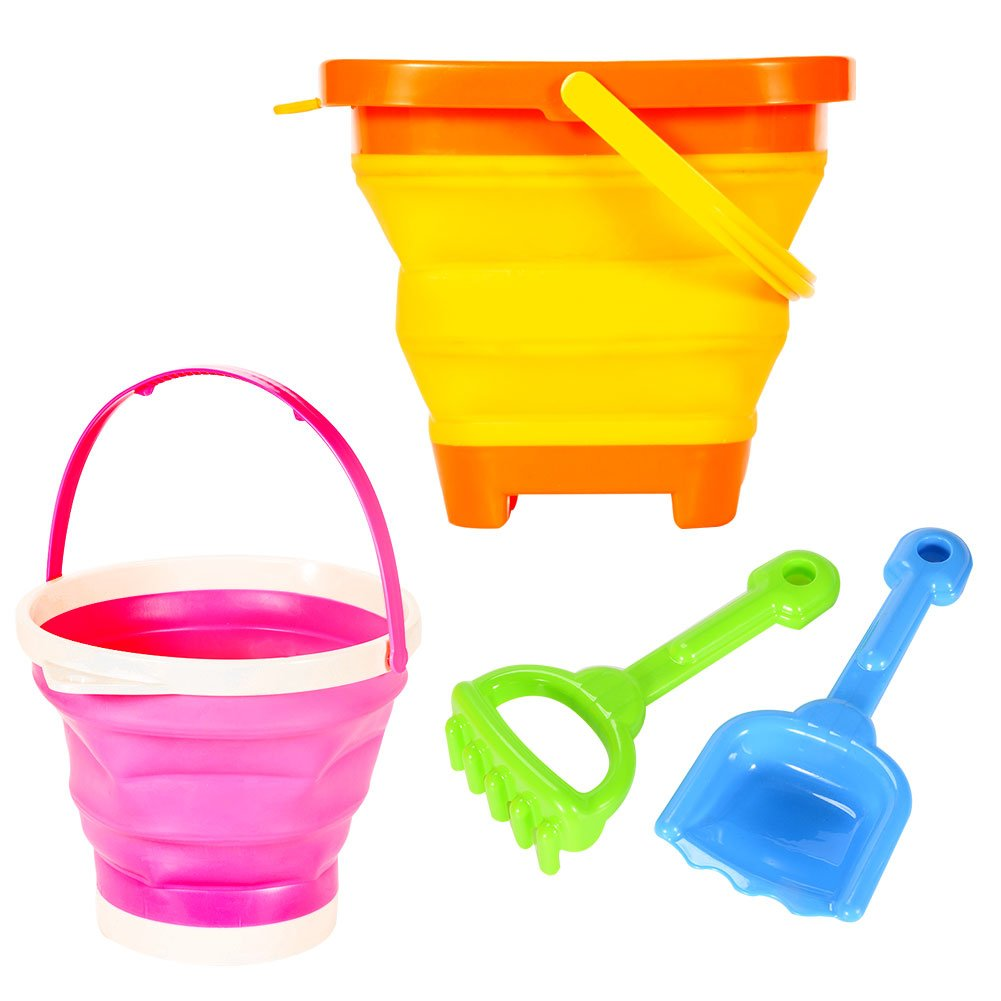 Acekid Beach Toy Set 2 Packable Pails Collapsible Buckets with 1 Shovel and 1 Rake Orange & Pink Summer Beach Party Play Set