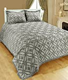 Saral Home Fashions Grace Chenille Bedspread with Sham, Full, Grey