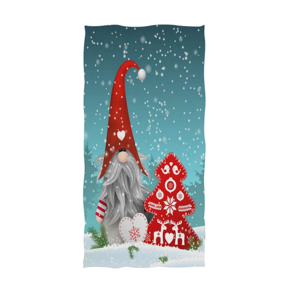 Wamika Xmas Gnome Fir Christmas Hand Towels Tomte Standing Snowy Bathroom Towel Ultra Soft Highly Absorbent Bath Towels for Face,Gym,Spa,16 X 30 Inch