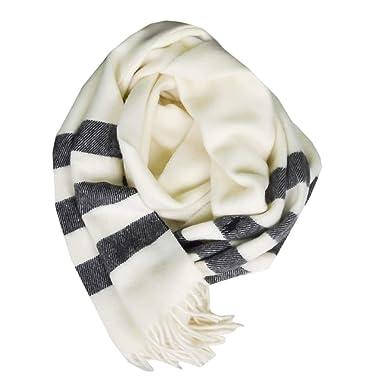 1deba3fd19ff Ralph Lauren Echarpe blanc crème et gris en laine pour femme  Amazon ...