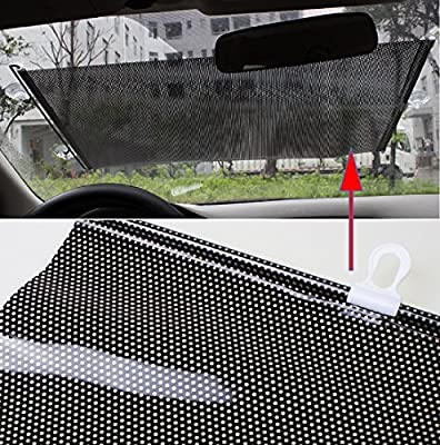 Jinon Sun Shade Auto Protector,Car Retractable Front Rear Windshield Cover Shield Blind Visor(Black)-USA Shipping