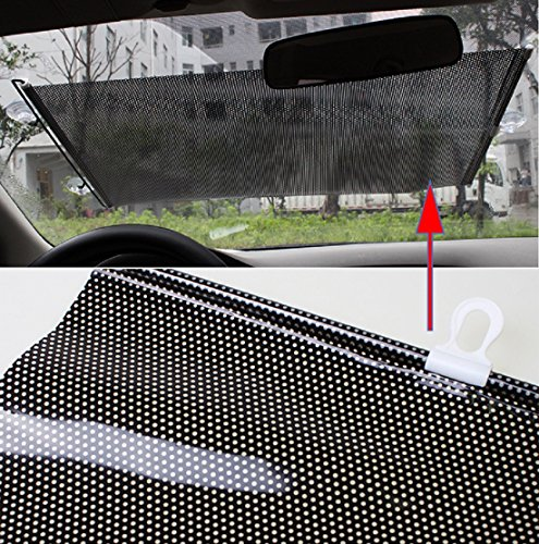 uto Protector,Car Retractable Front Rear Windshield Cover Shield Blind Visor(Black)-USA Shipping ()