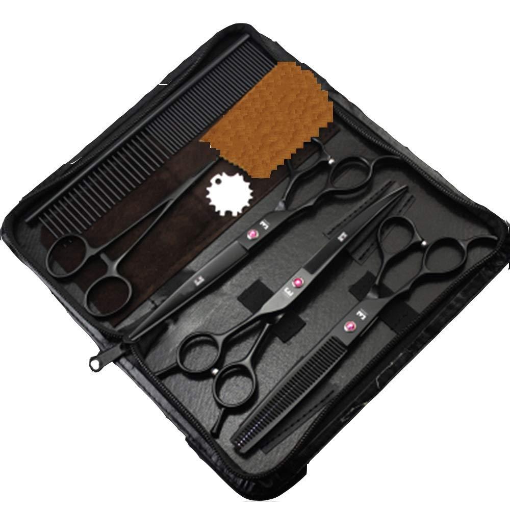 HUQQZ Pet Grooming Hair Dryer Set Forbici per Animali Domestici Set Forbici Professionali per Mancini 7 Pollici Set di 5 Pezzi in Acciaio Inossidabile di Alta qualità