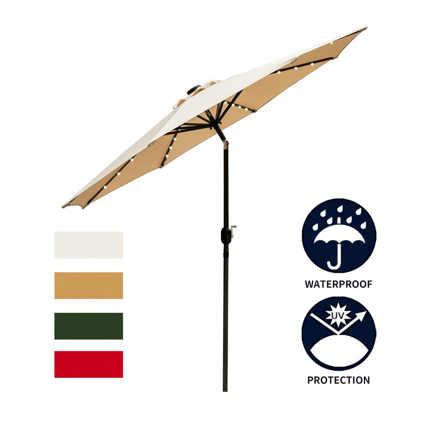 Ainfox 9ft Solar Patio Umbrella with LED Light, Steel Umbrella Ribs Waterproof Prevent Bask in for Garden, Indoor, Outdoor Use Without Base (Beige) by Ainfox