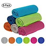 IDEATECH Instant Cooling Towels, 40'x12' Chilly Towels -UPF 50+ Cooling Ice Towels 6 Pack for Sports, Workout, Fitness, Gym, Yoga, Pilates, Travel, Camping