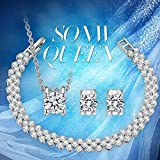 "P&M ""Snow Queen"" White Gold Plated Crystal Women Jewellery Set Bracelet Necklace Earrings Bild 5"