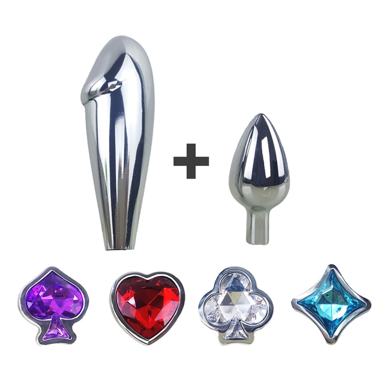 XUGEN Shirt Sex Toy Shop New Metal Crystal Anal Plugs for Couples Butt Plug Sets Big Anal Sex Toys for Women & Men Booty Beads Adult Sex Products,6pieces