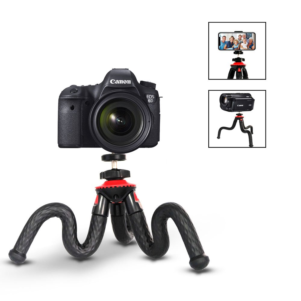 Phone Tripod, ELOKI Flexible iPhone Tripod / Camera Tripod with Gopro Adapter, Phone Mount Adapter, Bluetooth Remote Control for Canon Nikon Sony DSLR Cam Gopro Action and iPhone Samsung Phones by ELOKI