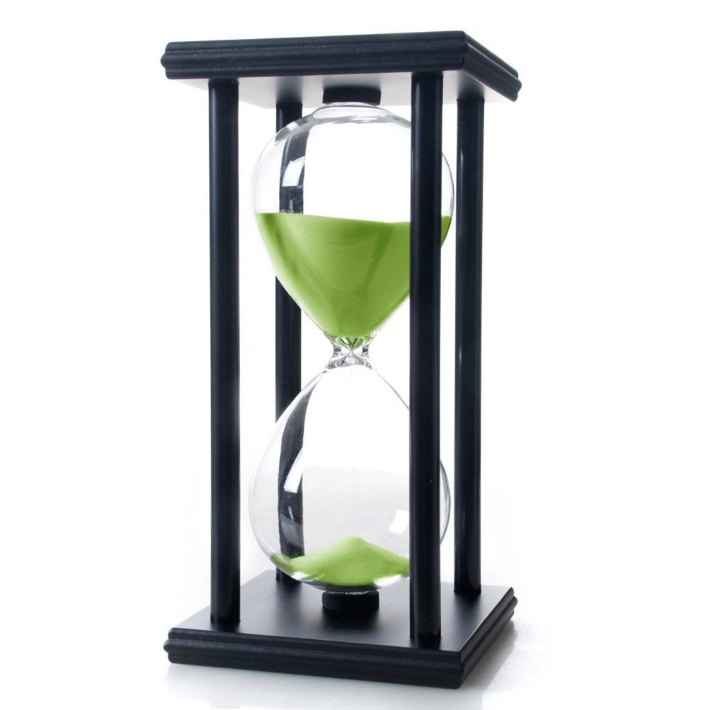 60 Minutes Hourglass, iPhyhe Sand Timer with Black Wooden Frame (Green Sand)