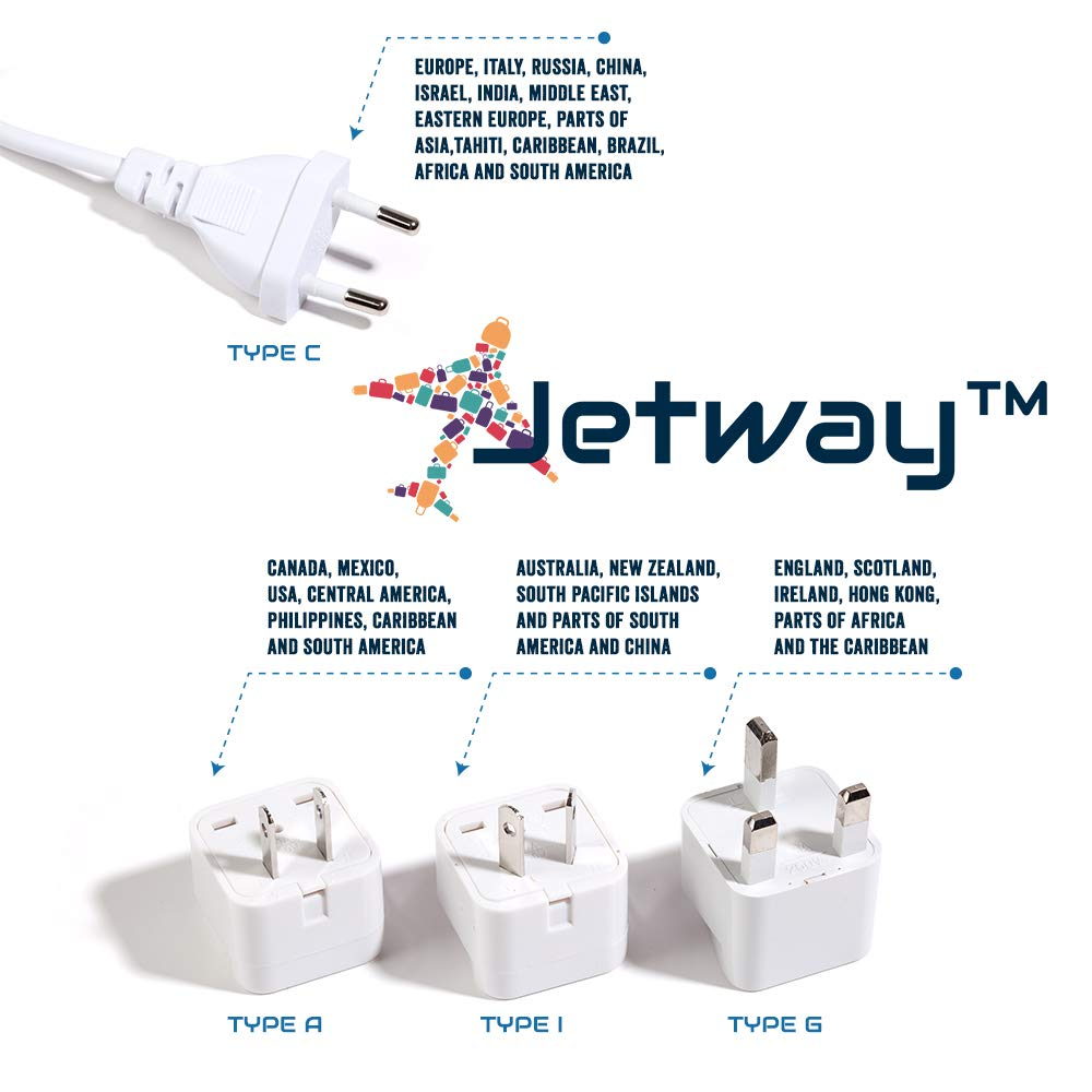 Best International Travel Adapter and Voltage Converter 200 Watts - Quiet Mode - 4 USB - Bonus Luggage TAG & CASE - 220V to 110V Travel Converter for UK/AUS/EU/Asia/Africa Guarantee by Jetway Travel Gear (Image #3)
