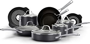 Calphalon Classic Nonstick 14 Piece Pots and Pans Cookware Set With BPA free No-Boil-Over Inserts Stay Cool Metal Handles Glass Lids