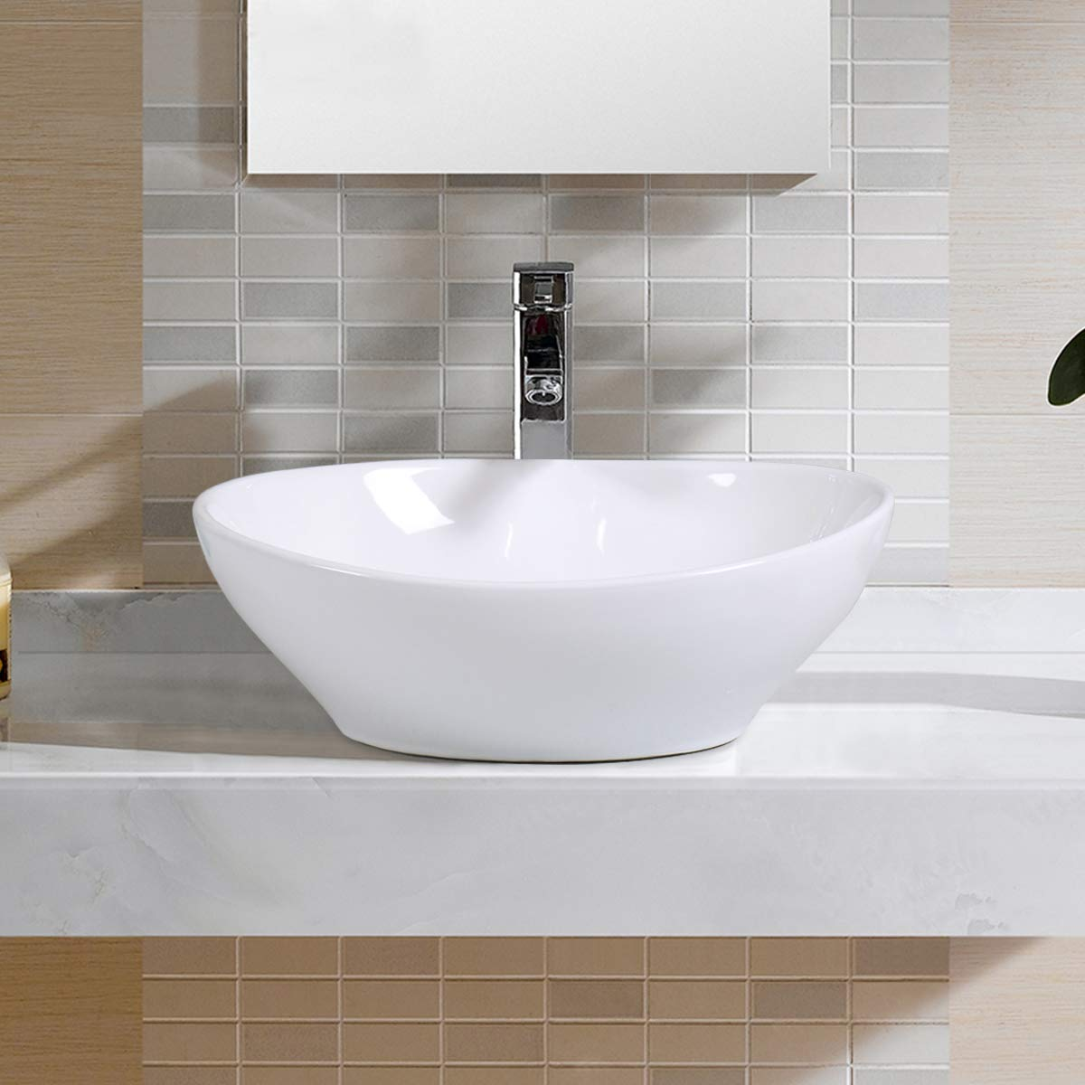 Giantex Oval Bathroom Basin Ceramic Vessel Sink Bowl Vanity Porcelain w Pop Up Drain