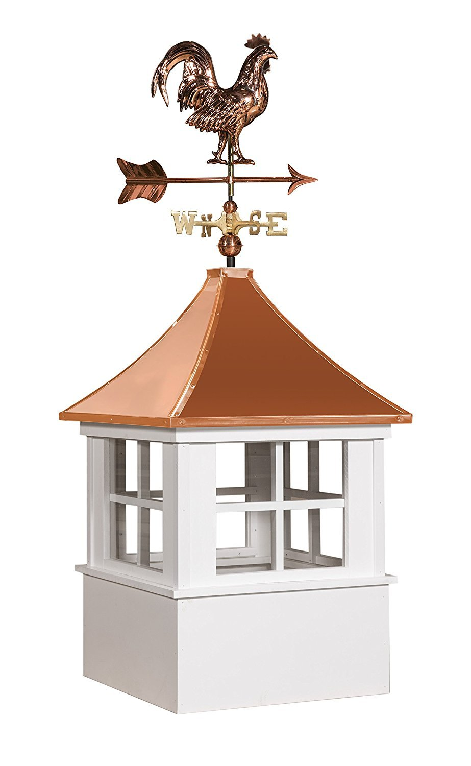 East Coast Weathervanes and Cupolas Vinyl Deerfield Cupola With Rooster Weathervane (vinyl, 21 in square x 49 in tall)