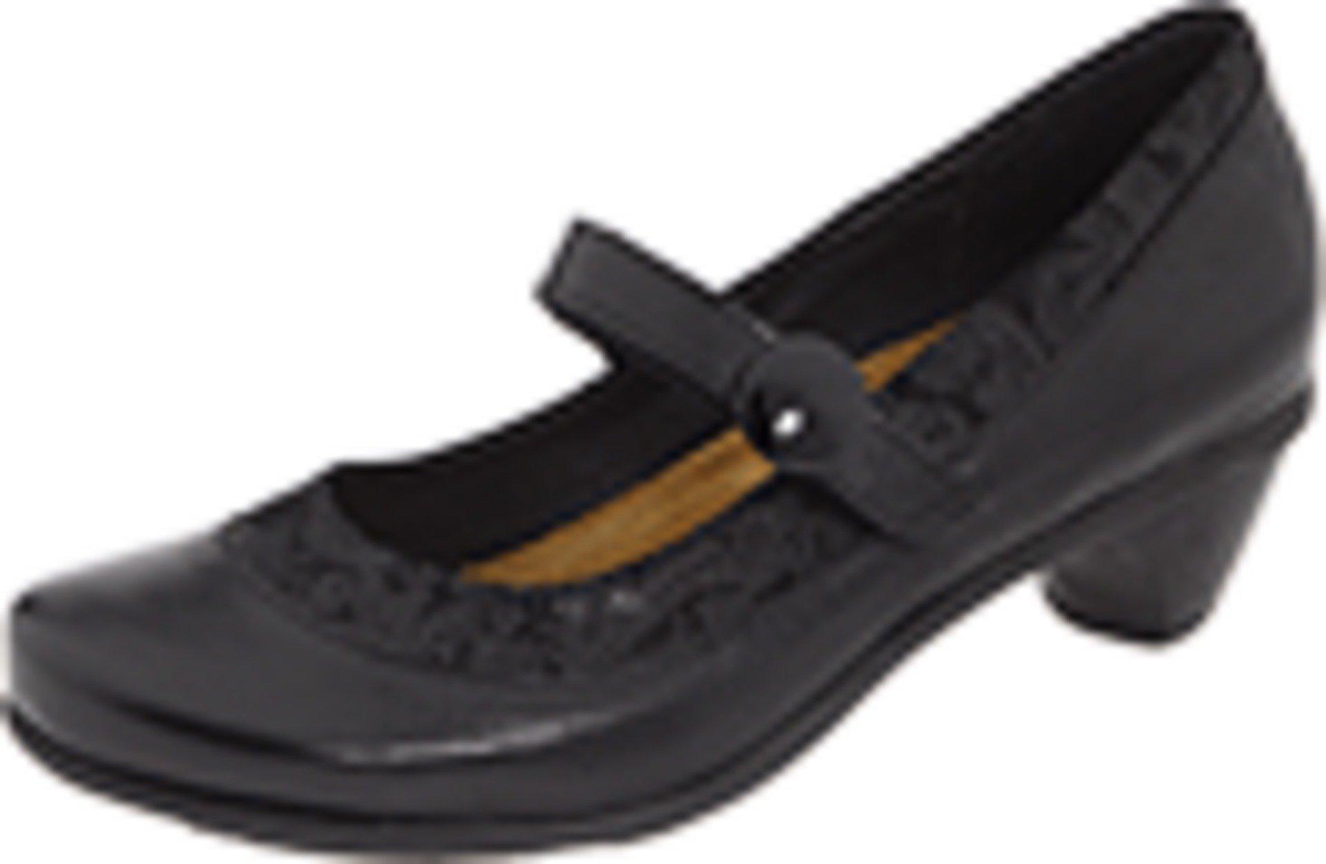 Naot Women's Trendy Black Gloss Leather/Black Lace Nubuck Pumps 35 M