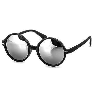 CASPAR Lunettes de soleil RÉTRO RONDES UNISEXE - verres miroir colorés - plusieurs coloris - SG019, Couleur:noir / miroir argenté