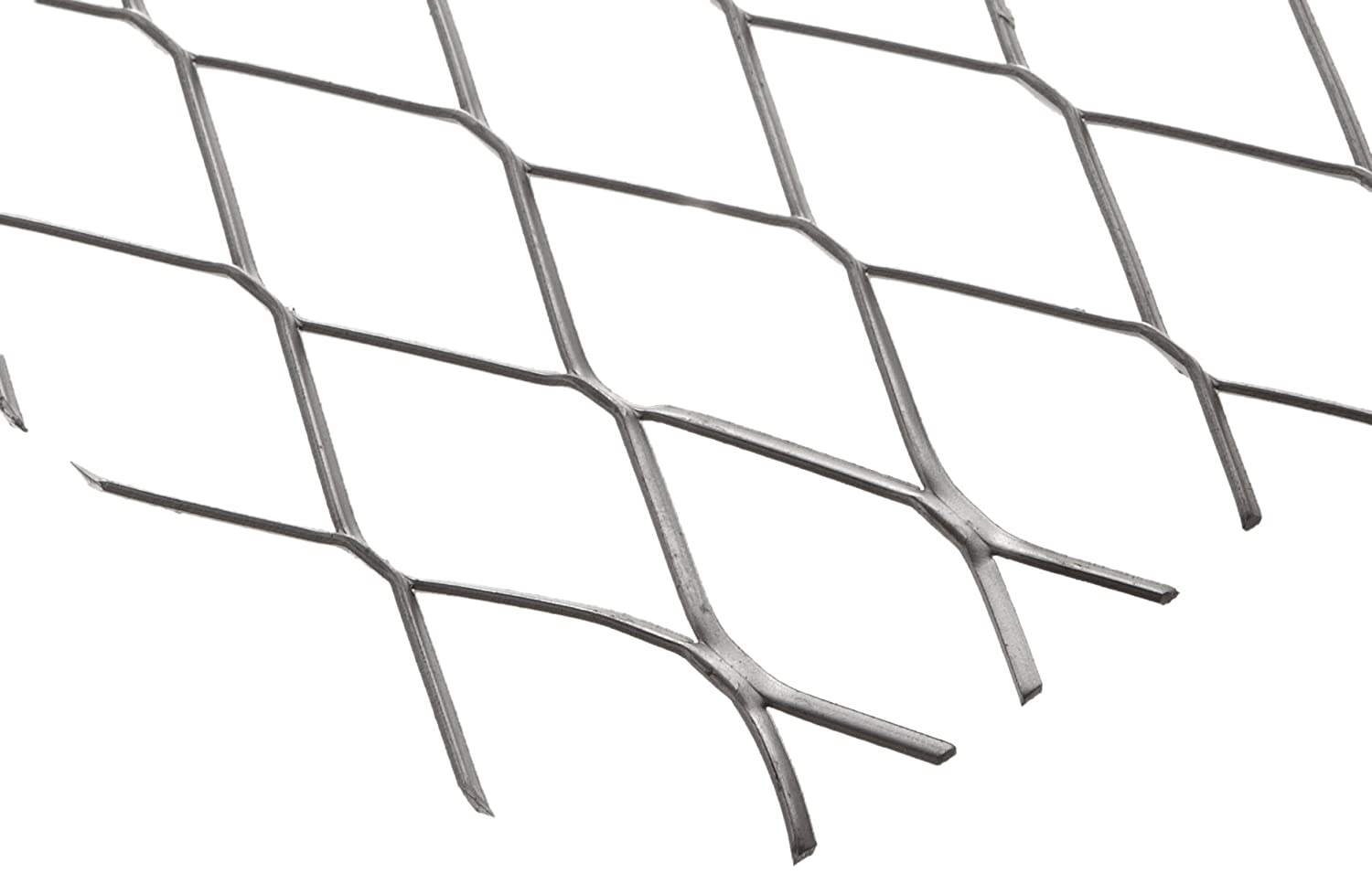 """Carbon Steel Raised Expanded Sheet, Unpolished (Mill) Finish, 24"""" Width, 24"""" Length, 1.00"""" SWD x 2.40"""" LWD Opening, 16 Gauge"""