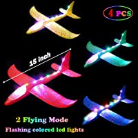 MIMIDOU 4 Pack Flashing Glider Plane, Illuminated Colored led Lights can Play at Night, Foam Airplane Have 2 Flight Mode, The Best Airplane Toys Gift.
