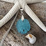 Handmade in Hawaii, blue sand dollar sea glass necklace, sterling silver chain,gift box,beach glass necklace,sea glass jewelry,beach glass jewelry