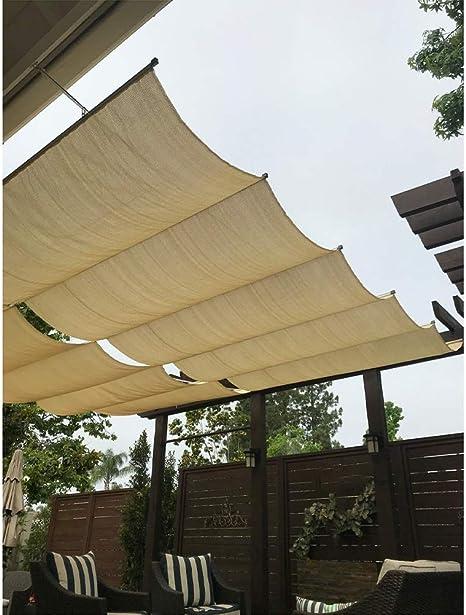 Al Aire Libre Pérgola Telescópica Kit De Hardware De Sombrilla Toldo De Patio, Anti-UV Tejido Hidrofóbico Pista De Alambre para Patios, Terraza, Restaurante (Color : Beige, Size : 0.9x5m): Amazon.es: Hogar