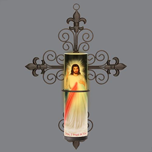 Divine Mercy, Jesus, I Trust in You, Divine Mercy, LED Flameless Candle, with Cross Fleur-de-lis Wall Sconce, w 6 Hour Timer Safety Guard Ring for LED Flameless Flame Candles 8.1875 X3.375