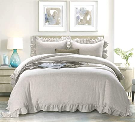 Meadow Park 100 Stone Washed Linen Duvet Cover Set 3 Pieces Queen Size 90 Inches X 92 Inches Shams 20 Inches X 26 Inches Ruffled Style Button Closure Corner Ties Super Soft Solid Natural Color Kitchen Dining Amazon Com