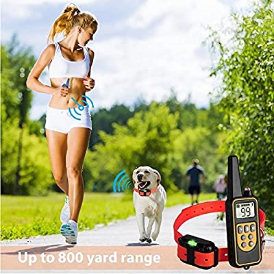 Dog Training Shock Collar with Rechargeable Remote, 2600 feet Range or 875 yards Range with Beep Vibration, Rainproof & Waterproof for 3 dogs, All dogs and puppies Sizes Small Medium and Large
