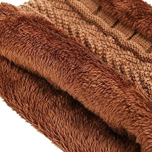 Gorros de Brown y Con Gorras punto de Bufanda Hombre Set Sombreros y Bufanda de Gorro Invierno SgUzxWw8q
