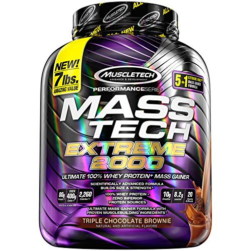 - MuscleTech Mass Tech Extreme Mass Gainer Whey Protein Powder, Build Muscle Size & Strength with High-Density Clean Calories, Chocolate, 7lbs (3.2kg)