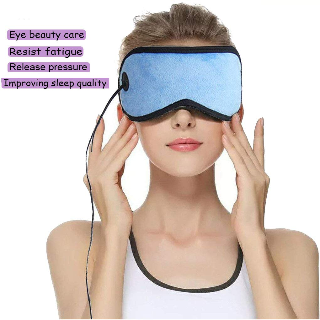 USB Hot Eye Mask, Far Infrared Portable Electric Heating Pad for Eyes, Sleep Mask, 3 Temperatures Control with 6.2 ft USB Cable,Hot Therapy,Relieve Fatigue,Dry Eye, Fade Black Eye,Release Eyes (Blue)