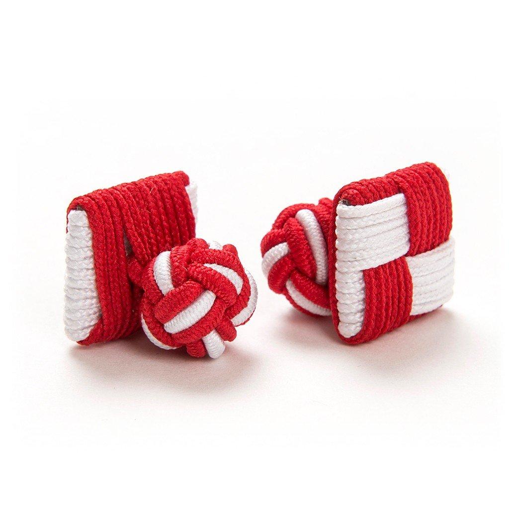 London Gentleman 2 Paar Seidenknoten Manschettenknöpfe Cufflinks Knötchen rot