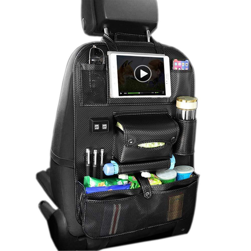 Car Organizer Seat Back Bag -4 USB Ports iPad Holder Multi Pockets-PU Leather Car Seat Back Organiser Foldable Dining Table for Bottles Tissue Box Umbrella Snacks Toys-4