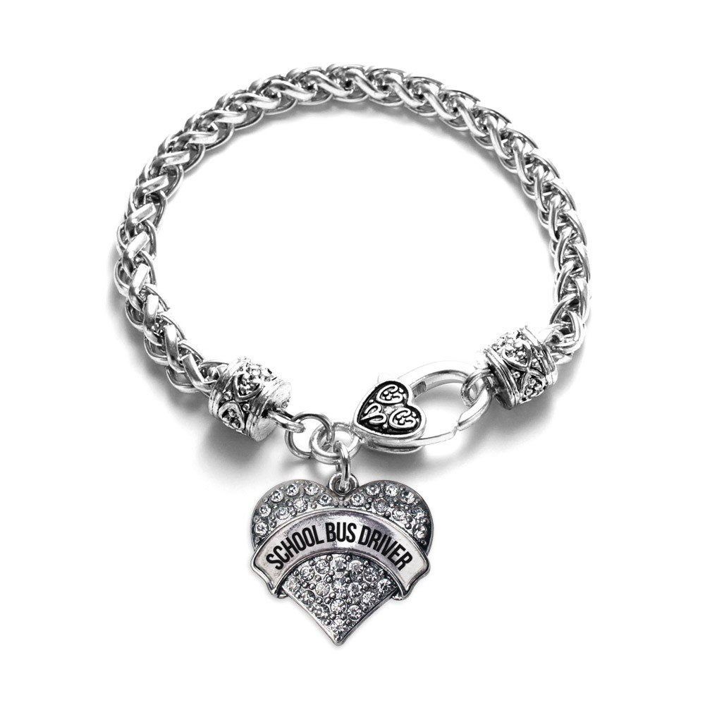 Inspired Silver School Bus Driver Pave Heart Charm Bracelet