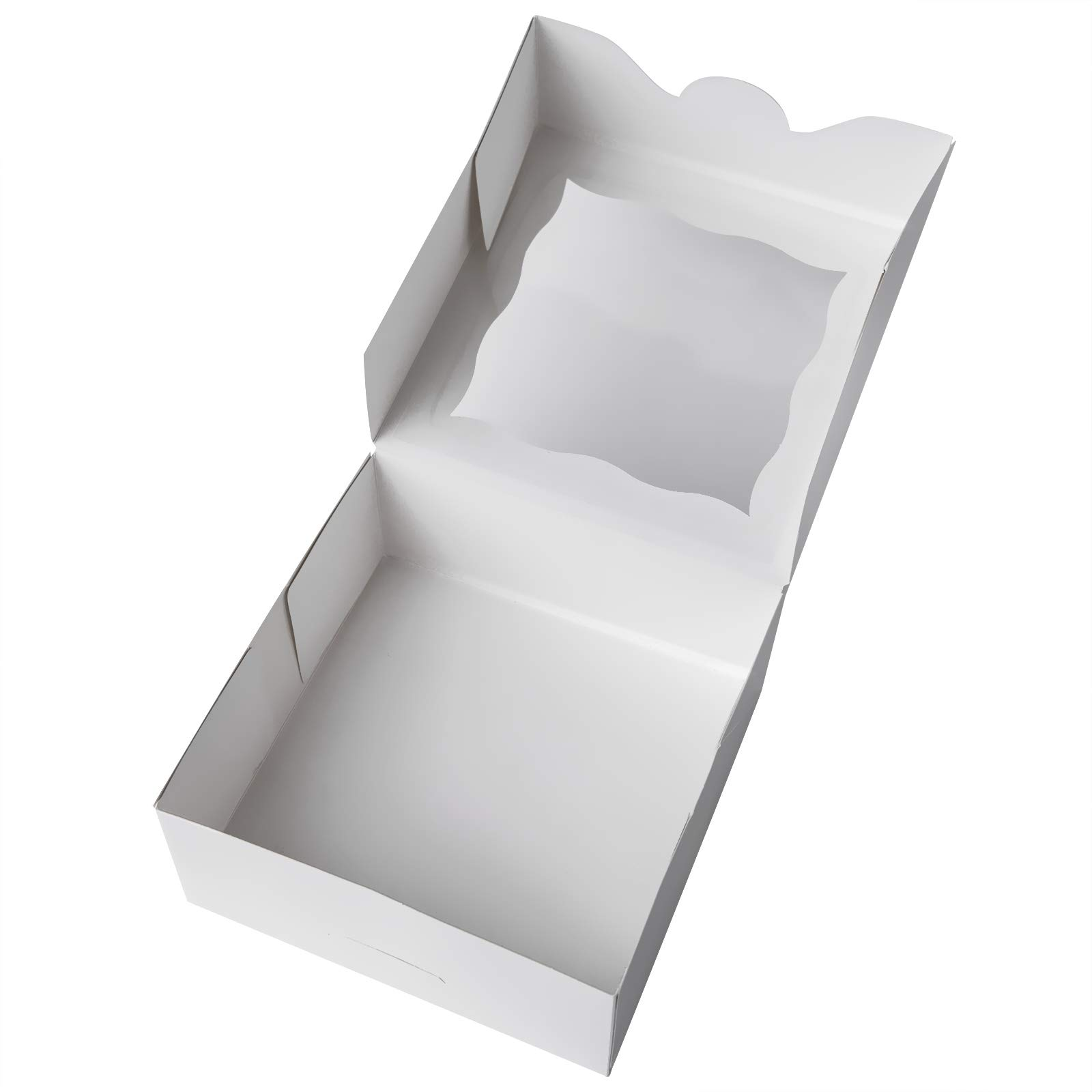 ONE MORE 6''White Bakery Boxes with pvc Window for Pie and Cookies Boxes Small Natural Craft Paper Box 6x6x2.5inch,12 of Pack by ONE MORE (Image #2)