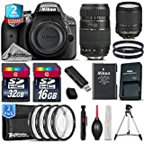 Holiday Saving Bundle for D3300 DSLR Camera + Tamron 70-300mm Di LD Lens + 18-140mm VR Lens + 2yr Extended Warranty + 32GB Class 10 Memory + 16GB Class 10 + Macro Filter Kit - International Version