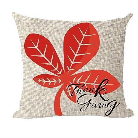 Bnitoam 2 Happy fall maple leaf pumpkin Cotton Linen Throw Pillow covers Case Cushion Cover Sofa Decorative Square 12 X 20 inch