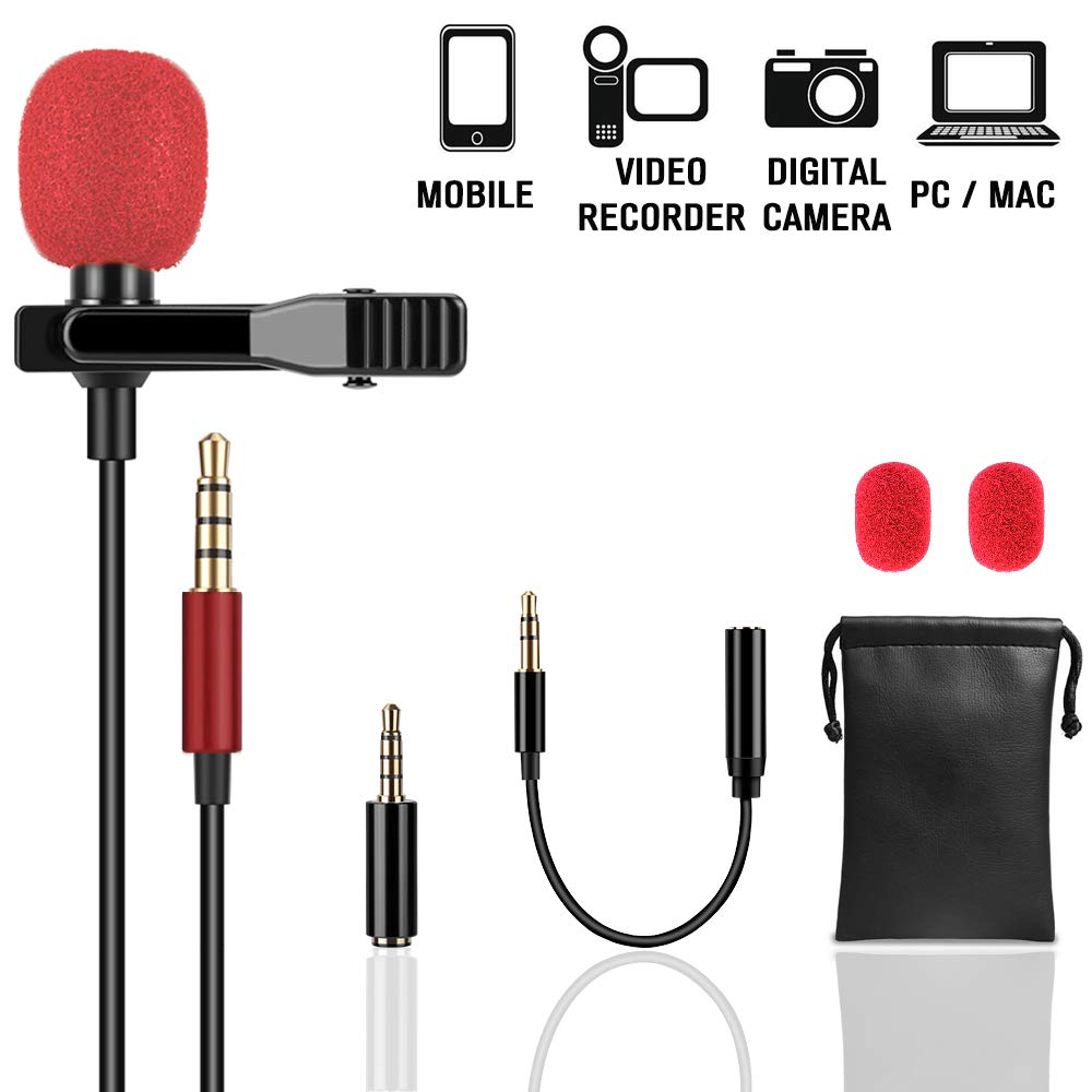 Lapel Microphone (Unique Fuzzy Windscreen Included) Omnidirectional Noise Cancelling Clip-on Speaker Mic for iPhone iPad Mac Android Smartphones Interview Video Recording CableMonsta