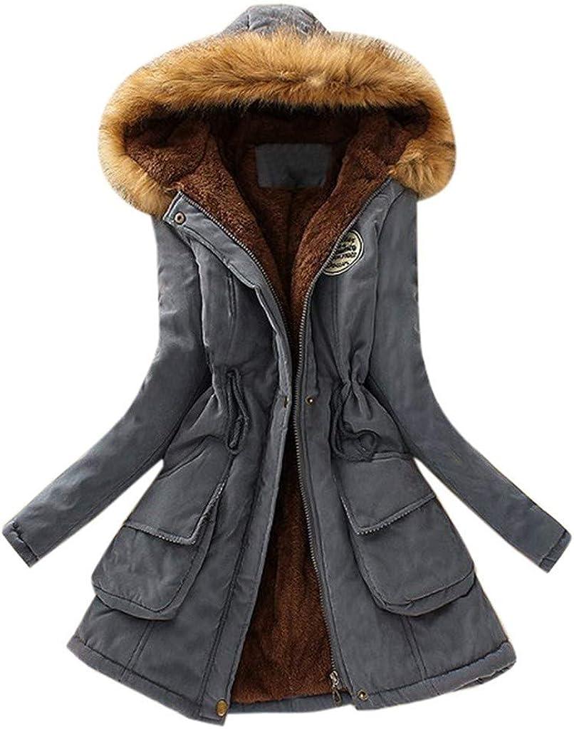 YEBIRAL Damen Winter Jacke Mantel Winterjacke Parka Warm Gef/üttert Wintermantel mit Pelzkapuze Mitte-Lange S-7XL